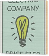 Electric Company Vintage Monopoly Board Game Theme Card Wood Print