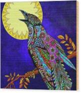 Electric Crow Wood Print