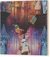 Electric Forest-people Building Houses In The Trees Wood Print
