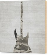 Electric Guitar Sepia Wood Print
