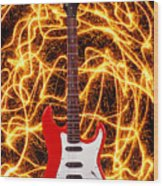 Electric Guitar With Sparks Wood Print