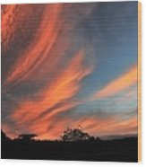 Electric Hawaiian Sunset Big Island Hawaii Wood Print