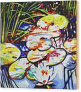 Electric Lillypads Wood Print