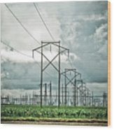 Electric Lines And Weather Wood Print