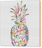 Electric Pineapple - Art By Linda Woods Wood Print