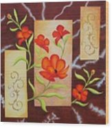 Electric Red Poppies Wood Print