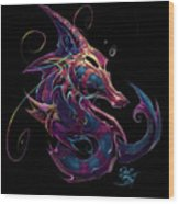 Electric Seahorse Wood Print by David Bollt