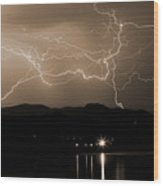 Electric Sepia Skies  Wood Print