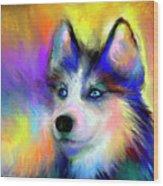 Electric Siberian Husky Dog Painting Wood Print by Svetlana Novikova