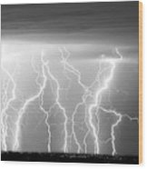 Electric Skies In Black And White Wood Print