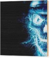 Electric Skull Wood Print