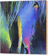 electric Stallion horse painting Wood Print