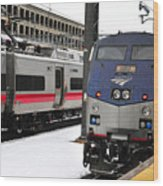 Electric Trains At Union Station Wood Print