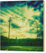 Electric Wires Across The Land Wood Print