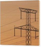 Electricity Pylon At Sunset  Wood Print