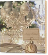 Elegant Holiday Dinner Table With Focus On Place Card Wood Print
