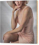 Elegant Johanna In Peach Wood Print
