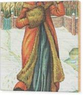 Elegant Lady In Snow, Christmas Card Wood Print