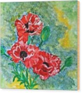 Elegant Poppies Wood Print