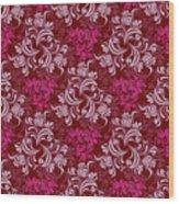 Elegant Red Floral Design Wood Print