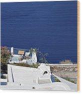 Elegant Restaurant In Santorini, Greece  Wood Print