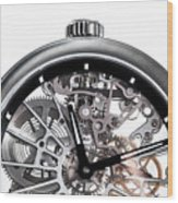 Elegant Watch With Visible Mechanism, Clockwork Close-up. Wood Print