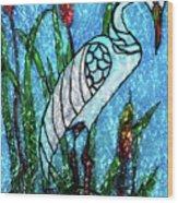 Elegant White Heron Wood Print