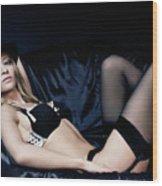 Elegant Young Woman In Black Lingerie Wood Print