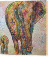 Elephant And Calf Wood Print