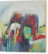 Elephant Baby And Mother Wood Print
