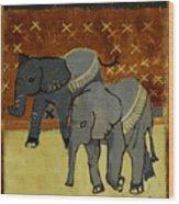Elephant Calves Wood Print