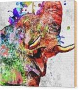 Elephant Colored Grunge Wood Print