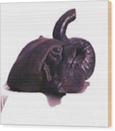 Elephant Head  Sculpture Side View Wood Print