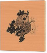 Elephant In Outer Space Wood Print