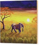 Elephant In Purple Twilight Wood Print
