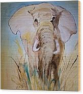 Elephant In The Field Wood Print
