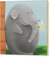 Elephant In The Shade Wood Print