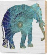Elephant Maps Wood Print