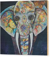 Elephant Mixed Media 2 Wood Print