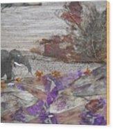 Elephant On Steep Road Wood Print