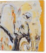 Elephant Orange Wood Print