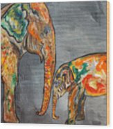 Elephant Play Day Wood Print