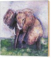 Elephant Poised Wood Print