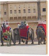 Elephant Ride 2 Wood Print