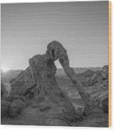 Elephant Rock Sunrise Bw  Wood Print