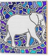 Elephant Rocker Blue Magoo Wood Print