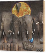 Elephant Run Wood Print