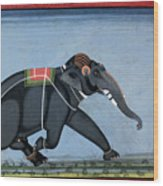 Elephant & Trainer, C1750 Wood Print
