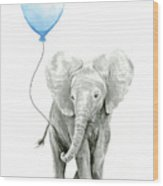 Elephant Watercolor Blue Nursery Art Wood Print