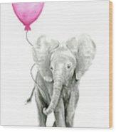 Baby Elephant Watercolor  Wood Print